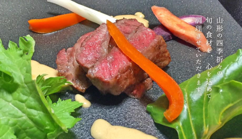 Prepare the dishes from the local and seasonal food in Yamagata with all our heart